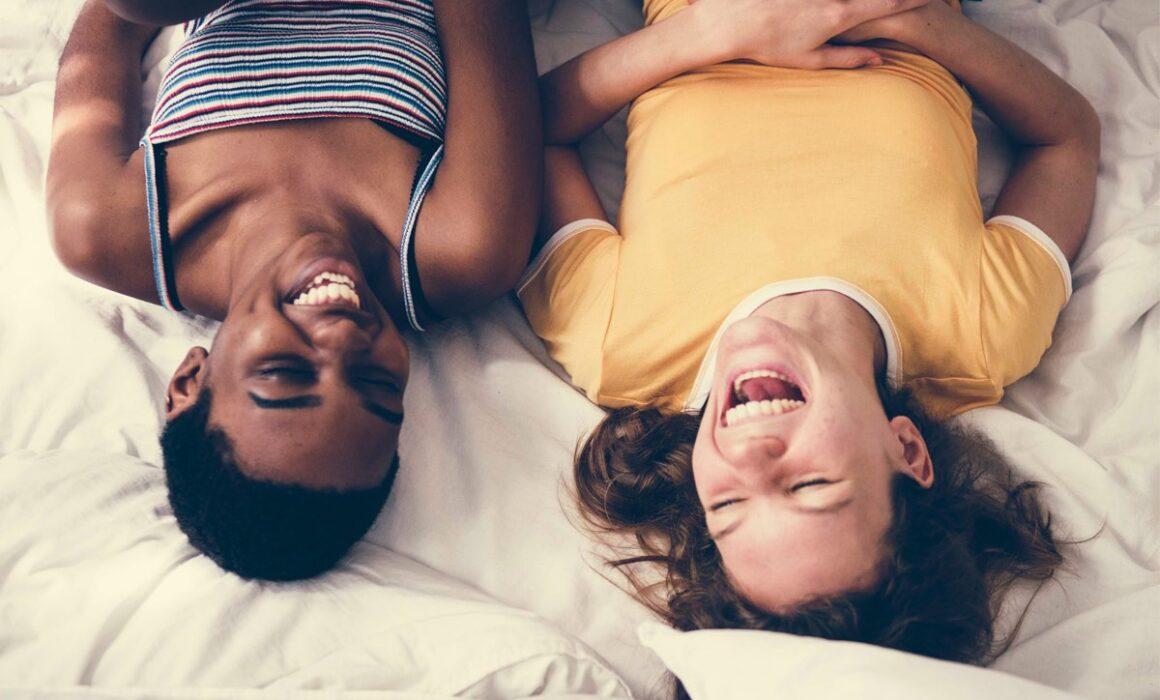 happy women laughing